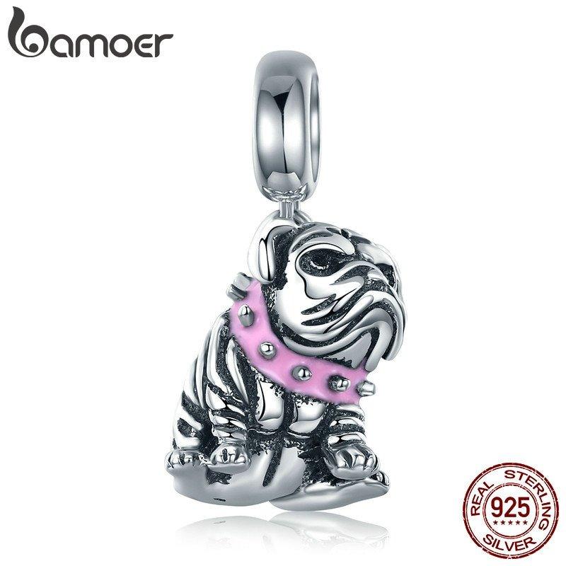 BAMOER Fine 925 Sterling Silver Charm Bulldog Dangle For Women Bracelet Jewlery